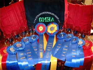 A GMHA cooler, 8 trophy glasses, 2 championship ribbons, & a bunch of ribbons - Way to go River House!
