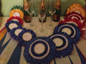Ribbons, Champagne, and Champagne Flutes from Dressage on the First Coast and the May Days Qualifier.